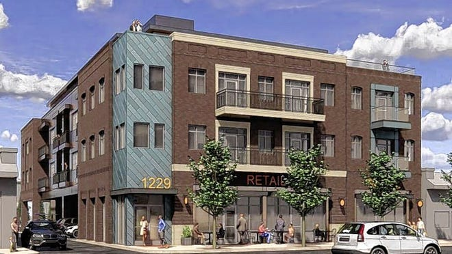 A rendering shows the four-story mixed-use building planned by Crossley Development for 1229-1237 Grandview Ave. The developer made changes to the design after outcry in November, but some neighbors and commission members say the building still doesn't fit the character of Grandview Avenue.