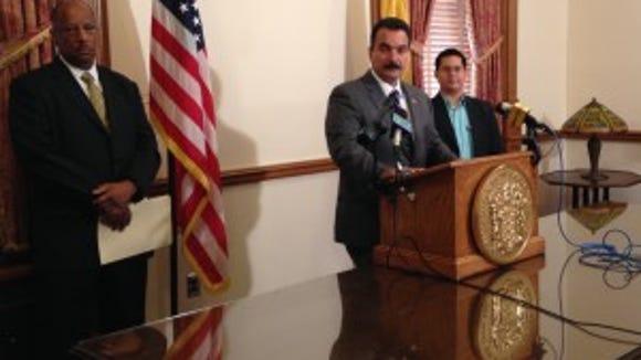 Assembly Speaker Vincent Prieto at a Statehouse news conference on July 2, 2014. (Michael Symons/Asbury Park Press)