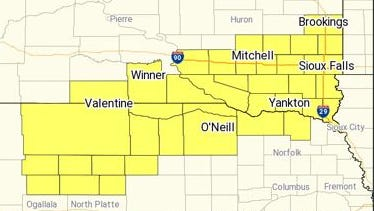 The National Weather Service has issued a severe thunderstorm watch for parts of South Dakota on Thursday afternoon and night.