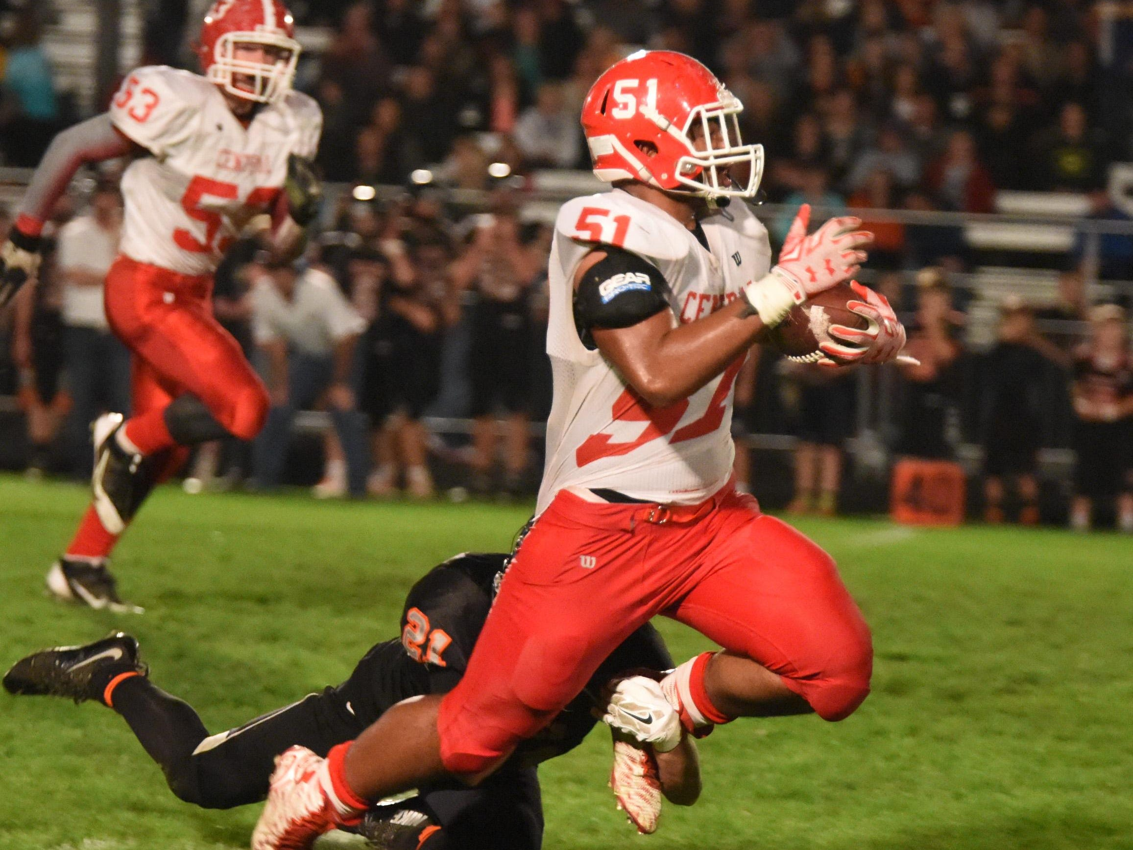 Central's Marlon Tuipulotu returns an interceptions on Oct. 16 Silverton and Central high schools battled in Silverton to a 34-21 victory for the Panthers.