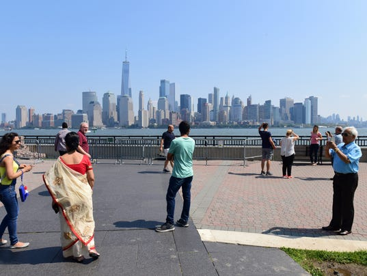 Liberty Park, 16 years later -- with a view of the new World Trade Center tower