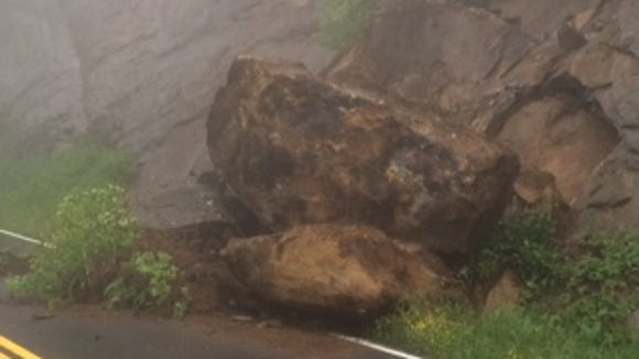 A rock slide near the entrance to Clingmans Dome Road in Great Smoky Mountains National Park has forced a temporary road closure.