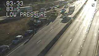A crash blocks traffic on I-83 north at exit 33 on Jan. 11.