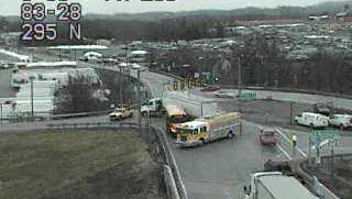 A traffic camera shows a school bus clipped by a tractor trailer just off I-83 northbound late Wednesday afternoon.