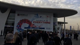 Attendees arrive at Mobile World Congress in Barcelona, Spain