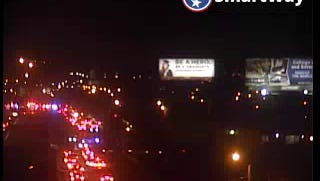 Photo of traffic backed up on Interstate 40.