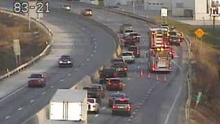 Fire and ambulance crews responded to a two-vehicle crash on Interstate 83 on Friday evening.