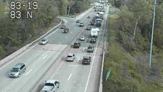 Traffic is slow on Interstate 83 northbound near Exit 19 onto Market Street due to a multi-vehicle accident Thursday morning.