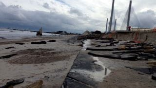 The north side approach road to the old Indian River Inlet Bridge was destroyed during Hurricane Sandy.