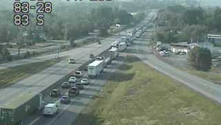 Traffic is at a standstill on Interstate 83 southbound near Exit 28 onto Strinestown due to an accident that has closed the left lane in both directions near mile marker 26.