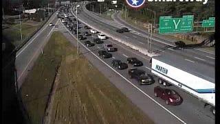 Interstate 40 eastbound left lane is blocked.