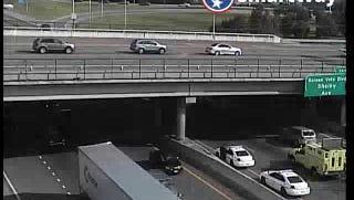 A crash blocks multiple lanes on Interstate 24 eastbound July 18, 2016.