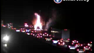 A pickup truck is on fire on Interstate 24 east Sept. 13, 2016.