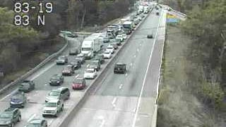 Traffic was moving slow on Interstate 83 near exit 18 for Mt. Rose after a multiple-vehicle crash on Friday.