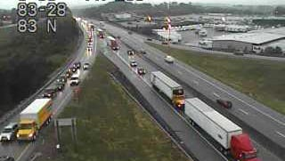 Crashes on I-83 south Monday morning backed up traffic to near Exit 28 onto Strinestown.