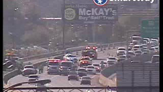 A rollover accident causes traffic on I-40 eastbound Oct. 28, 2016.