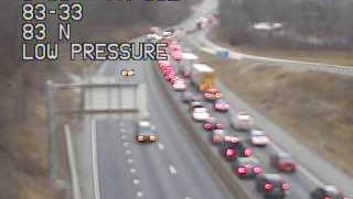 Traffic is backed up on I-83 north past Exit 33 due to a Thursday morning crash in  Fairview Township.
