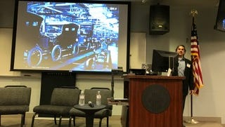 """Wayne, N.J.--David Rossi, a cybersecurity architect for IBM, speaking at William Paterson University on Friday. """"We're past the industrial revolution. We're in the data revolution,"""" he said."""