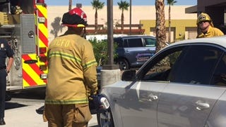Cathedral City firefighters demonstrate new equipment donated by the Firehouse Subs Public Safety Foundation.