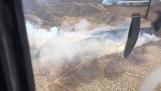 """The National Weather Service has issued a wind advisory and """"red flag"""" warning, which indicates low relative humidity and high fire danger, for southern Arizona until 8 p.m. on April 25, 2017, as the Sawmill Fire continues to burn in Coronado National Forest."""