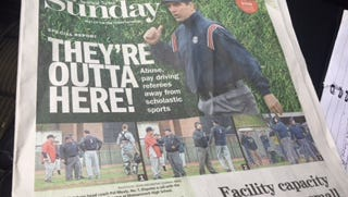 Front Page of The Journal News project on disappearing high school sports refs.