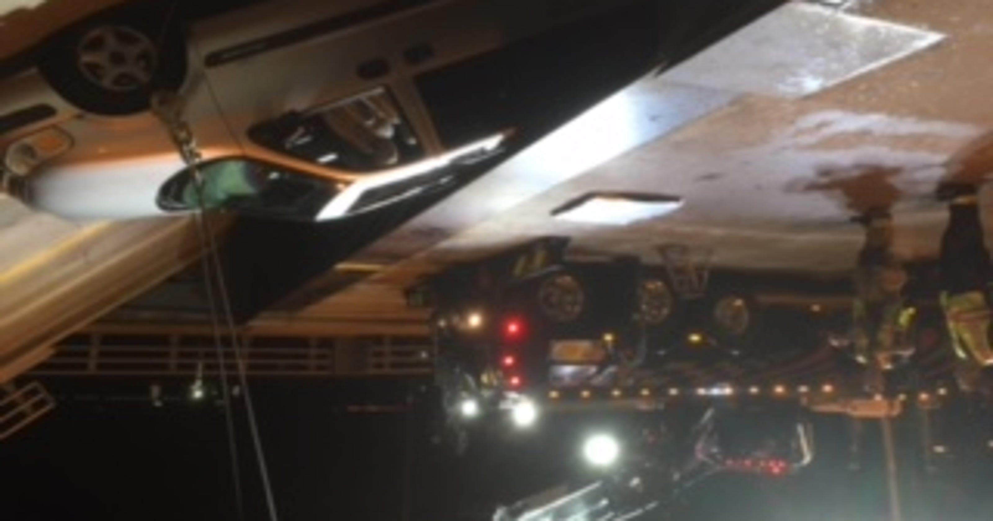 Vehicle gets stuck in opening drawbridge