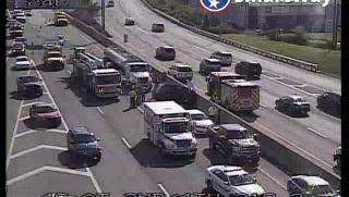 A multi-vehicle crash on Interstate 40 near 2nd Avenue downtown has traffic clogged on July 13, 2017.