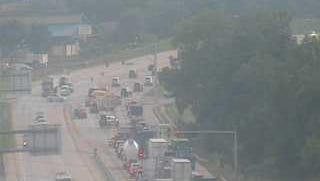 Traffic in West Manchester Township is backed up Wednesday morning due to a crash on Route 30 eastbound.