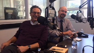 """Dave Wilson, left, and Dave Robinson dominate the airwaves at WVOX's """"Above the Fold"""" Wednesday."""