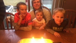 Laura Holly celebrates a birthday with her grandchildren.