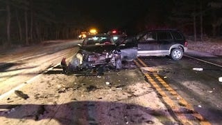 A three-car crash closed Route 70 for three hours between County Roads 530 and 539 on New Year's Eve.