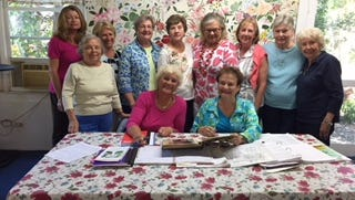 80th Anniversary Committee of The Garden Club of Stuart are, from left, Donna Berger and Jan Stoorza. Standing: Deborah Reaves, Joan Graff, Gail Quinn, Mary Lou Marshall, Iris Rhett, Rana Holbrook, Pat Dermody, Cyndy Trossbach, and Jeanne-Marie Parkes.