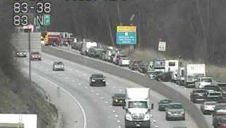 Backlog from Interstate 83 North shutdown between exits 36 and 38.