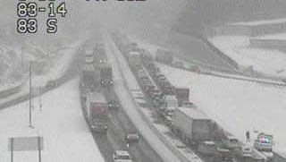 Traffic on Interstate 83 in the area of Exit 14 for Leader Heights was snarled during the snowstorm early Tuesday afternoon. There were multiple crashes and traffic problems reported around York County.