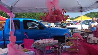 Dozens of people stopped by this pink flamingo-themed tailgate at the Iroquois Steeplechase in Nashville on Saturday, May 12, 2018.