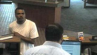 Police are searching for this man, who they say robbed a bank Saturday morning.