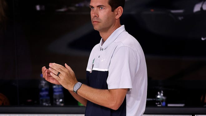 Boston Celtics' Brad Stevens on during the second half of an NBA basketball game =against the Memphis Grizzlies Tuesday, Aug. 11, 2020, in Lake Buena Vista, Fla.