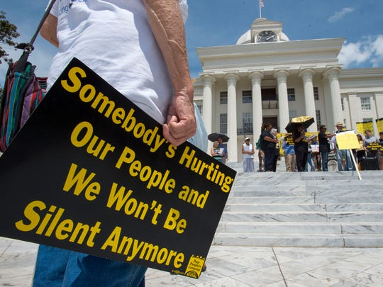 Protestors assemble for the Poor People's Campaign Rally Monday, June 11, 2018, at the Capitol in Montgomery, Ala. (Julie Bennett/Montgomery Advertiser)