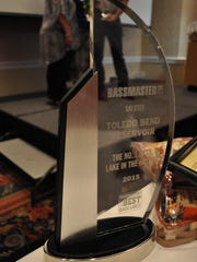 "The trophy presented by ""Bassmaster"" Magazine editor James Hall on Friday evening to the states of Louisiana and Texas."