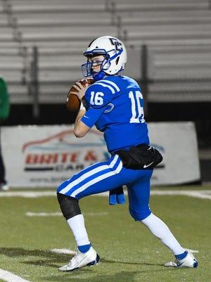 Cedar Creek quarterback Brock McLaughlin surveys the field.