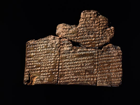 An ancient clay tablet in Sumerian cuneiform from the site of Nippur in Mesopotamia (now in Iraq), circa 1650 BCE, contains the earliest version of the Mesopotamian flood story. A version of this tale becomes incorporated into the Epic of Gilgamesh, and tells of a flood that destroyed humankind — the story closely parallels the biblical story of Noah. Penn Museum