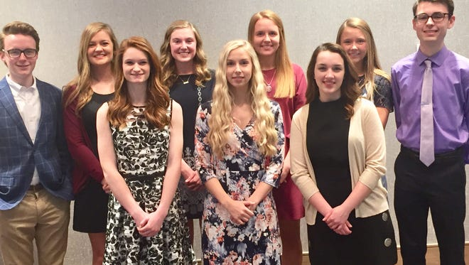Ted Hitch scholarship Nine of the 10 recipients of the 2018 Ted Hitch Scholarship Awards from Evansville Teachers Federal Credit Union pose before a banquet at the DoubleTree Hilton in Evansville. Each graduating senior will receive a $5,000 award. From left, with high school and planned college, are (front row) Sydney Blanford (Castle and Purdue), Juliana Peckenpaugh (Reitz and Purdue), and Kathryn Muensterman (Mater Dei and Washington & Lee); and (back row) Cole Privette (Henderson County and University of Kentucky), Hannah Menke (North and Western Kentucky), Carlie Elpers (Memorial and University of Evansville), Bailey Hume (Daviess County and Louisville), Lauren Earhart (Mount Vernon and Clemson) and Jason Chamness (Reitz and Purdue). Unable to attend was Samuel Carter (Upperman High School near Nashville, Tennessee).
