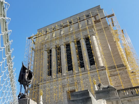 The Indiana War Memorial undergoes repairs on Friday