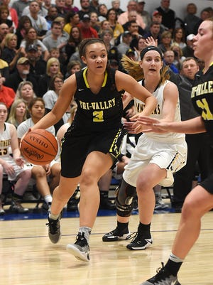 Tri-Valley's Kyndal Howe moves along the baseline during the Scotties' 30-28 regional final loss against Miami Trace. Howe, a freshman, was one of several key underclassmen to aid the team's tournament run.