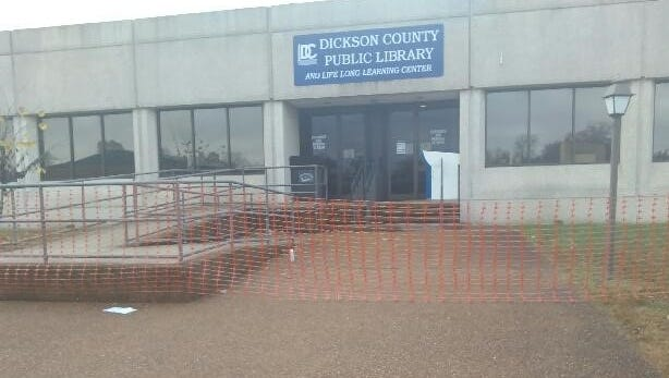 Photo outside the Dickson County Public Library this week.