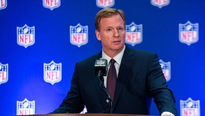 NFL Commissioner Roger Goodell speaks to the media after the NFL owners meeting at Conrad Hotel.
