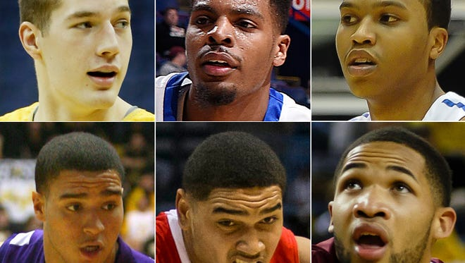 Top row, from left: Alec Peters, Valparaiso; Devonte Brown, Indiana State; Mo Evans, IPFW. Bottom row, from left: D.J. Balentine, Evansville; Franko House, Ball State; Marcellus Barksdale, IUPUI.