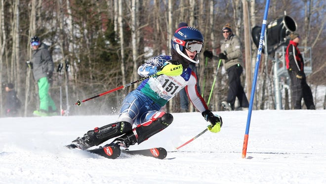 Ben Nelson of the St. Cloud Breakaways competes at the state Alpine ski championships Wednesday at Giants Ridge in Biwabik. Nelson, a ninth-grader, was disqualified