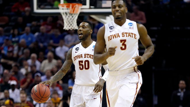 Iowa State Cyclones guard DeAndre Kane (50) shouts in the first half of a men's college basketball game against the North Carolina Tar Heels during the third round of the 2014 NCAA Tournament at AT&T Center.