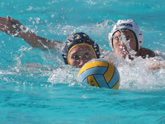 La Quinta's Justin Hop in action against Bonita during the CIF first round water polo match on Wednesday in La Quinta.